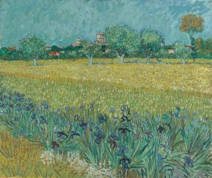 Vincent van Gogh Dutch, 1853–1890, Field with Irises near Arles, May 1888, Oil on canvas, Van Gogh Museum, Amsterdam (Vincent van Gogh Foundation)